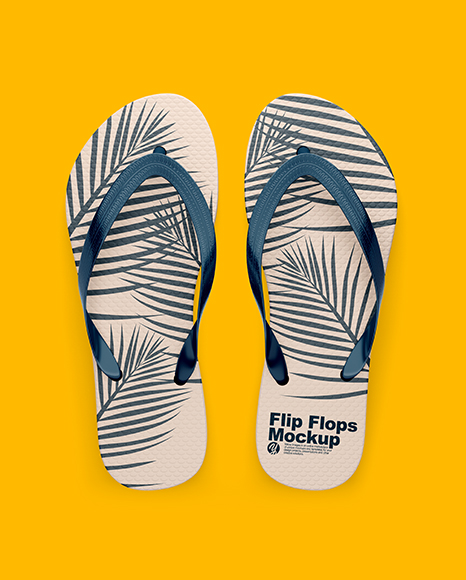 1088e981e46d03 Flip Flops Mockup - Top View in Apparel Mockups on Yellow Images ...
