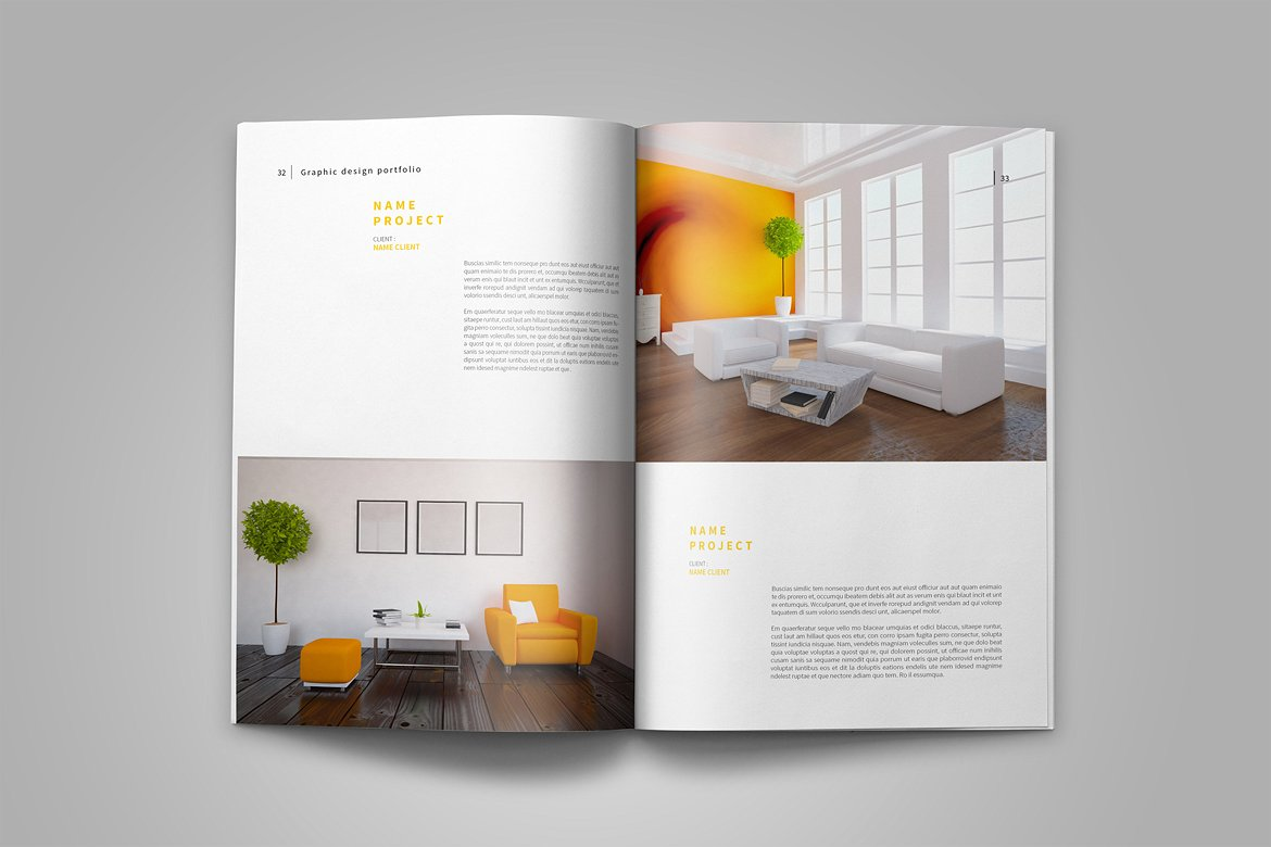 Graphic Design Portfolio Template in Brochure Templates on Yellow ...