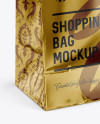 Metallic Shopping Bag Mockup - Halfside View (High Angle Shot)