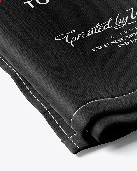 Two Folded Kitchen Towels Mockup - Half Side View