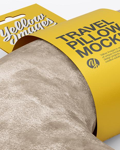 Velvet Travel Pillow Mockup - Half Side View