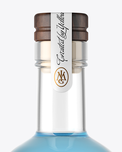 Clear Glass Gin Bottle with Wooden Cap Mockup