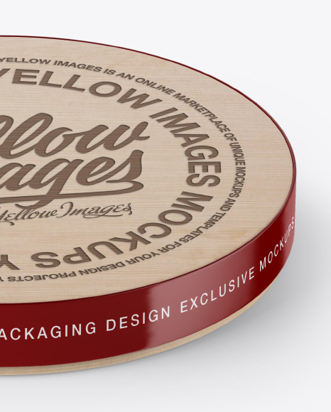 Wooden Round Pack Mockup - Front (High-Angle Shot) & Bottom Views