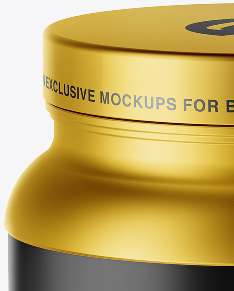 Matte Metallic Protein Jar Mockup - High-Angle Shot