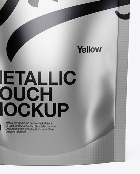 Metallic Stand Up Pouch Mockup - Front View