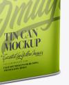 Metallic Tin Can Mockup - Half Side View