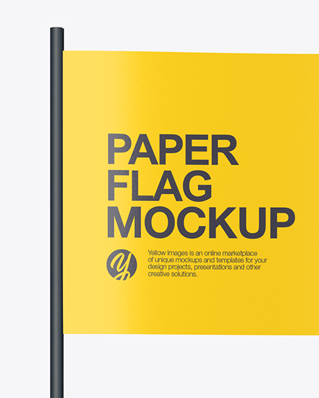 Paper Flag Mockup - Front View