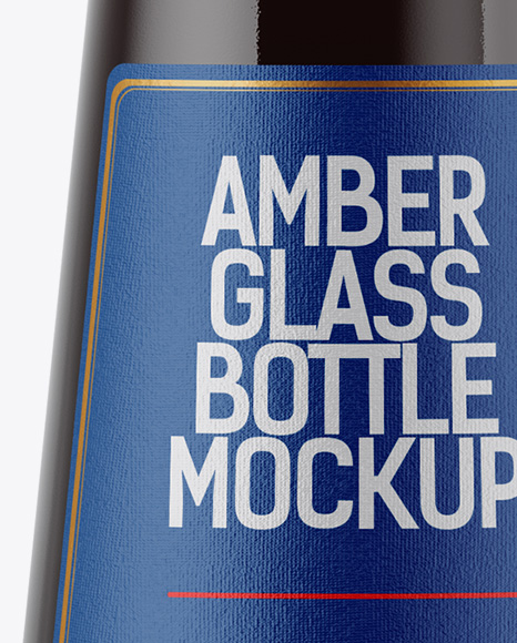 Amber Glass Stout Beer Bottle Mockup