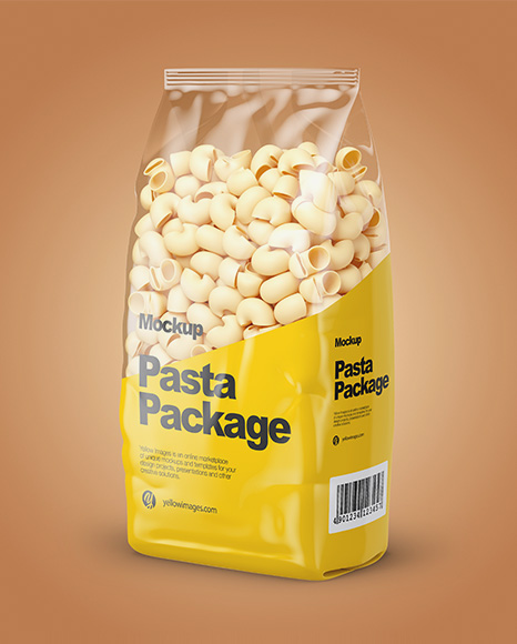 Pipe Rigate Pasta Mockup - Half Side View