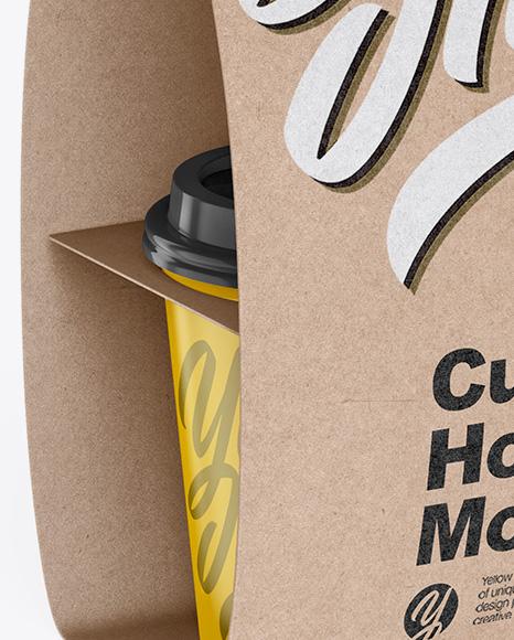 Kraft Cup Carrier Mockup