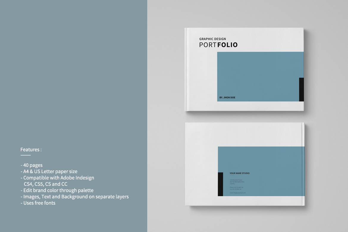 Graphic Design Portfolio Template In Brochure Templates On Yellow