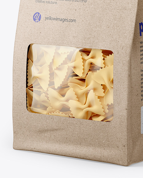 Kraft Bag with Farfalle Pasta Mockup - Half Side View