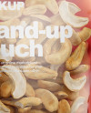 Glossy Transparent Stand-Up Pouch W/ Cashew Nuts Mockup - Half Side View