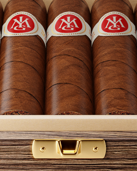 Opened Wooden Cigar Box Mockup - Front View (High Angle Shot)