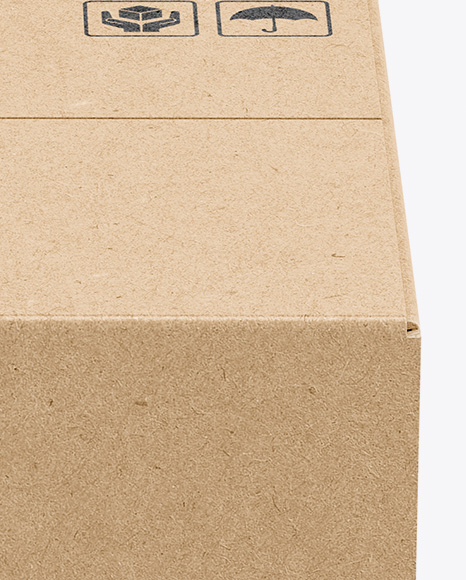 Kraft Box Mockup - Side View (High-Angle Shot)
