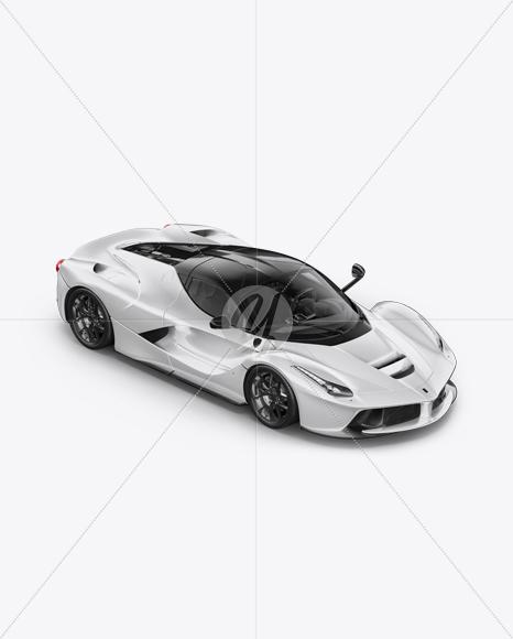 Super Car Mockup - Half Side View (High-Angle Shot)