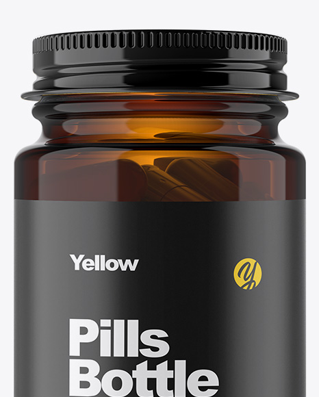 Amber Glass Pills Bottle Mockup