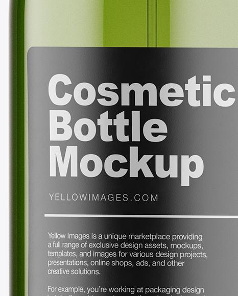 Green Plastic Cosmetic Bottle w/ Transparent Cap Mockup