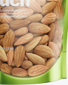 Glossy Transparent Stand-Up Pouch W/ Almond Nuts Mockup - Half Side View