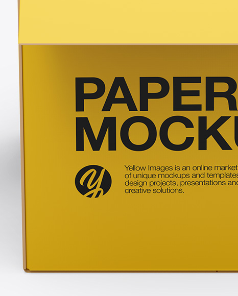 Opened Paper Box Mockup - Front View (High-Angle Shot)