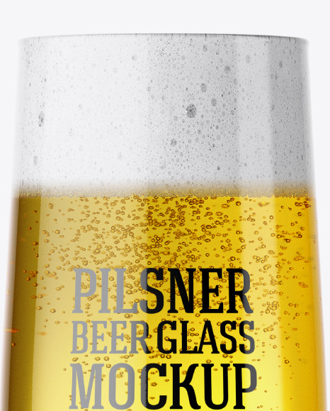 Embassy Glass with Pilsner Beer Mockup