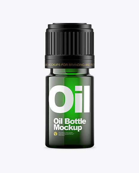 Download Free Green Glass Oil Bottle Mockup PSD Template