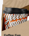 Kraft Coffee Cup Holder W/ Matte Cups Mockup - Front View