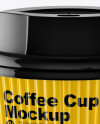 Glossy Coffee Cup Mockup - Front View (High-Angle Shot)