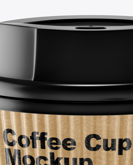 Kraft Coffee Cup Mockup - Front View (High-Angle Shot)
