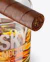 Whisky Tumbler Glass with Cigar Mockup