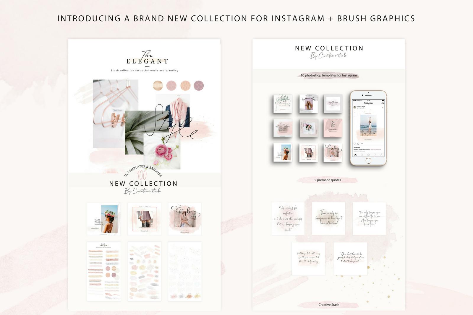Psd For Instagram Brush Graphics In Social Media Templates On