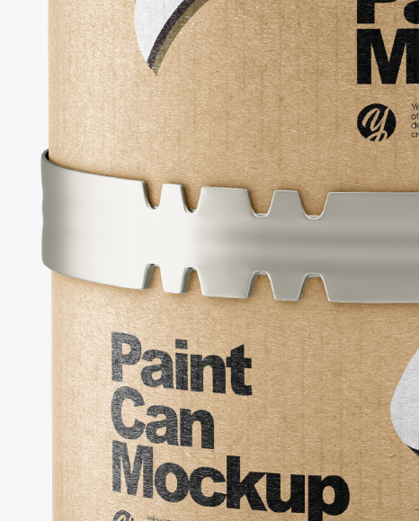 Metallic Paint Can w/ Kraft Label Mockup