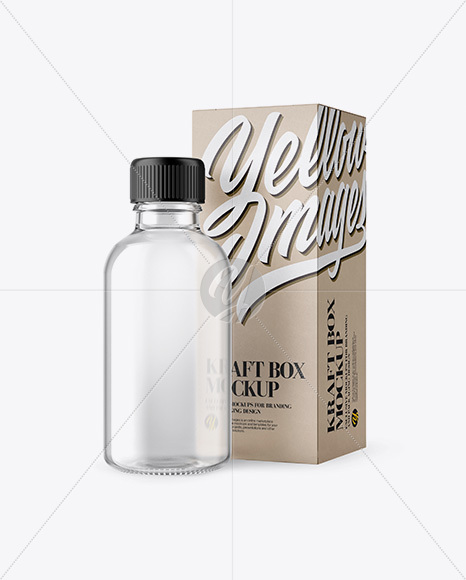 50ml Clear Glass Сosmetic Bottle W/ Kraft Box Mockup