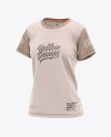 Women's Relaxed Fit Crewneck T-shirt Mockup - Front Half-Side View