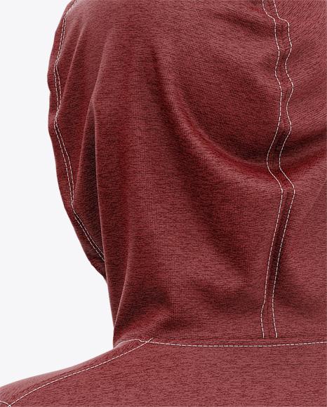 Men's Heather Full-Zip Hoodie Mockup - Back Half Side View