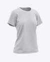 Women's Heather Relaxed Fit T-shirt Mockup - Front Half-Side View