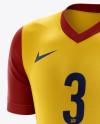 Men's Soccer V-Neck Kit mockup (Half Side View)