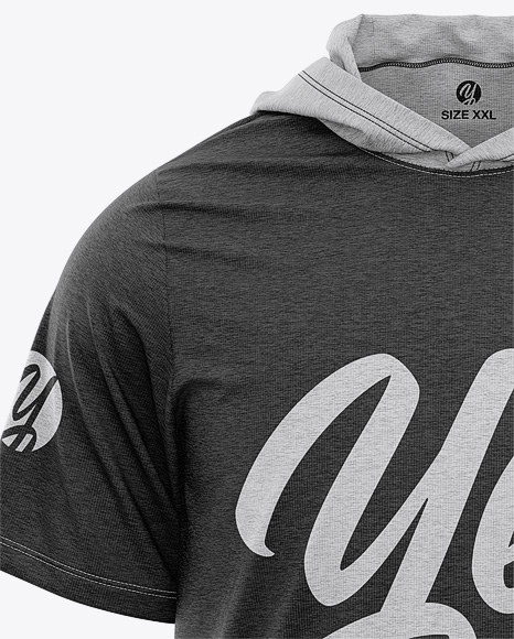 Men's Heather Hooded T-shirt Mockup - Front View