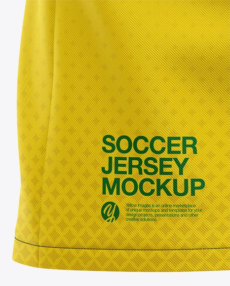 Men's Soccer Y-Neck Jersey Mockup - Back Half-Side View