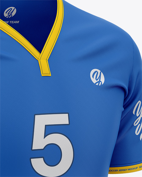 Men's Soccer Y-Neck Jersey Mockup - Front Half-Side View