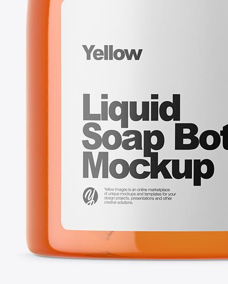 Orange Liquid Soap Bottle Mockup