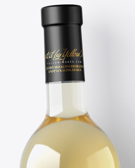 White Wine Bottle w/ Corkscrew and Card Mockup