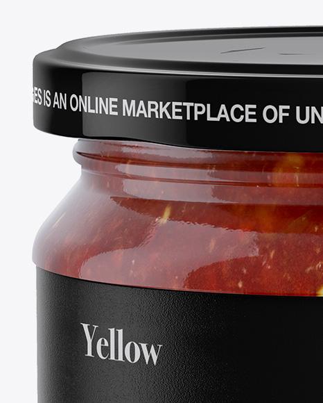 Glass Jar With Sauce Mockup