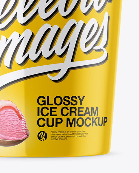 Glossy Ice Cream Cup Mockup