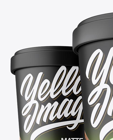 Three Matte Ice Cream Cups Mockup