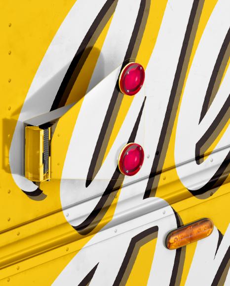 Ice Cream Food Truck Mockup - Half Side View (High-Angle Shot)