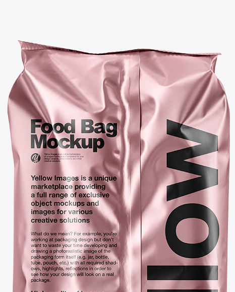 Matte Metallic Food Bag Mockup