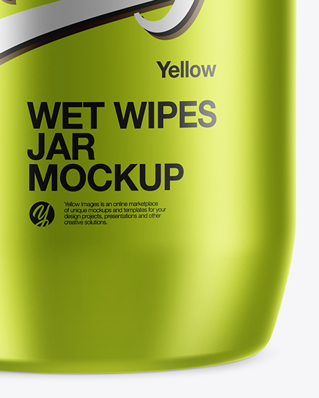 Metallic Wet Wipes Jar Mockup