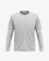 Men's Heather Double-Layer Long Sleeve T-Shirt Mockup - Front View