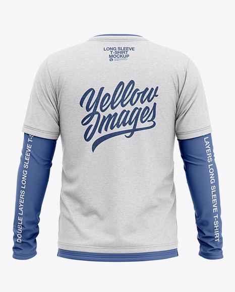 Men's Heather Double-Layer Long Sleeve T-Shirt Mockup - Back View